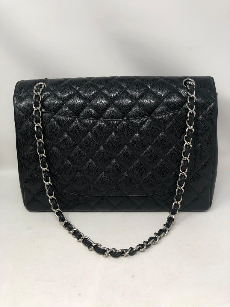 Women's or Men's Chanel Black Caviar Leather Maxi Bag For Sale