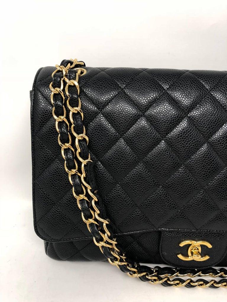 Chanel Black Caviar Leather Maxi Bag  For Sale 2