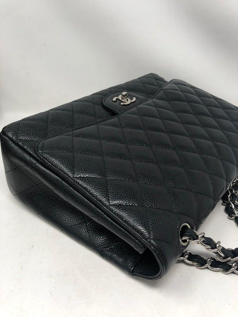 Chanel Black Caviar Leather Maxi Bag For Sale 3