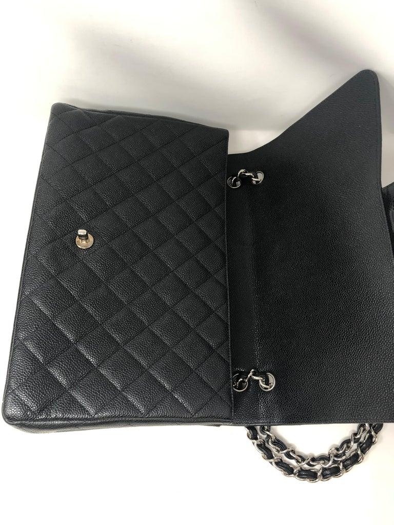 Chanel Black Caviar Leather Maxi Bag For Sale 4