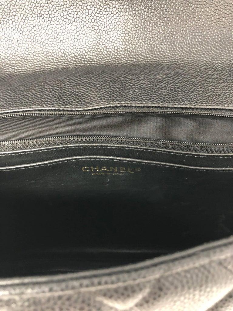 Chanel Black Caviar Leather Maxi Bag  For Sale 5