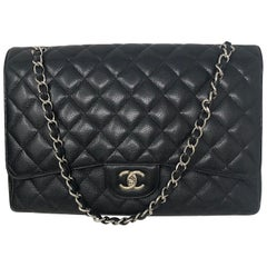 Chanel Black Caviar Leather Maxi Bag