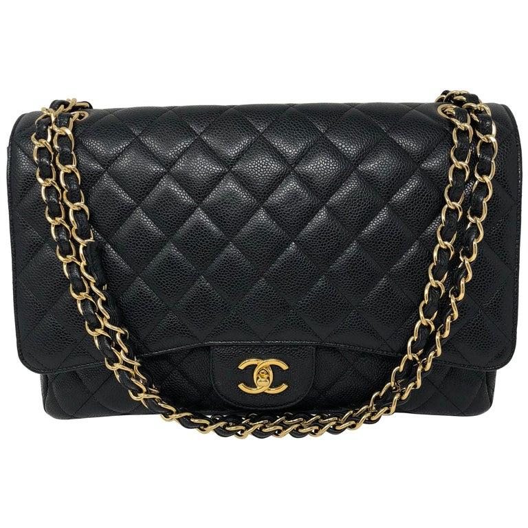 Chanel Black Caviar Leather Maxi Bag  For Sale