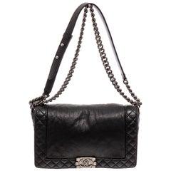 Chanel Black Caviar Leather Medium Reverso Boy Bag