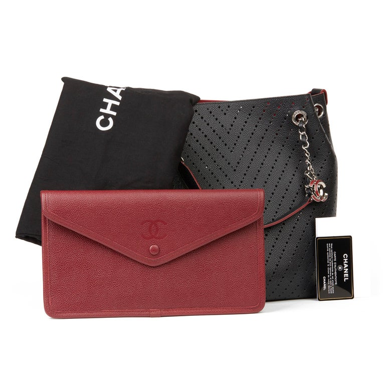 Chanel Black Caviar Leather Perforated Accordion Shopping Bag with Pouch 7