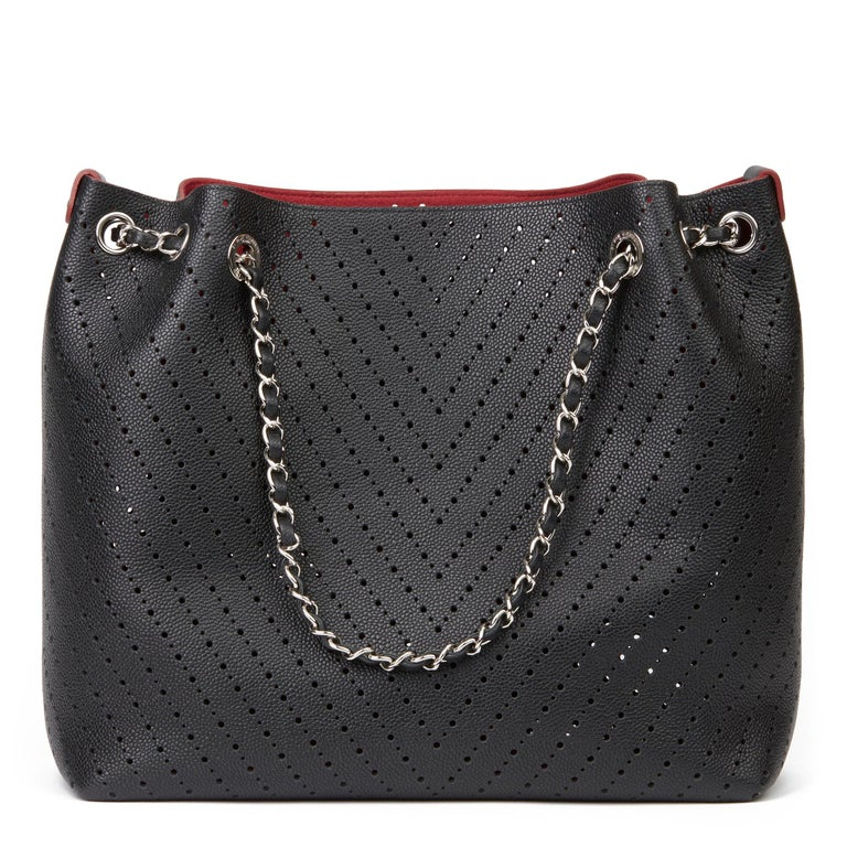 Women's Chanel Black Caviar Leather Perforated Accordion Shopping Bag with Pouch