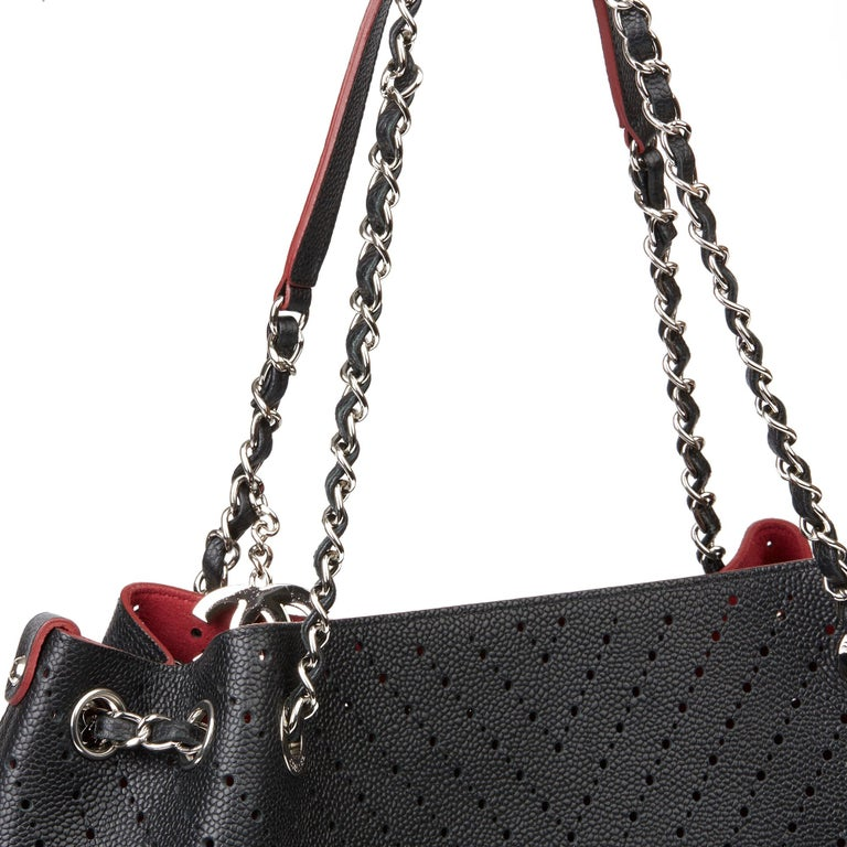 Chanel Black Caviar Leather Perforated Accordion Shopping Bag with Pouch 3