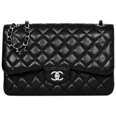 Chanel Black Caviar Leather Quilted Double Flap Jumbo Bag