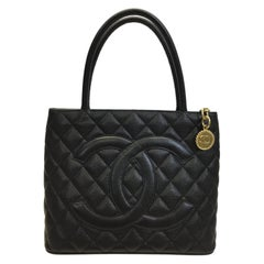 Chanel Black Caviar Leather Quilted Medallion Tote