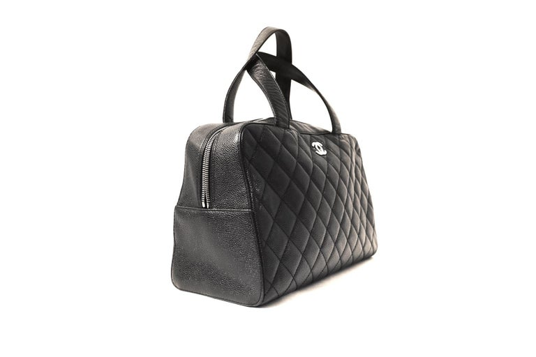 Chanel Black Caviar Leather Quilted Satchel In Excellent Condition In Palm Beach, FL