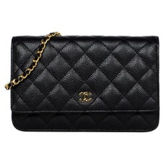 Chanel Black Caviar Leather Quilted Wallet On Chain WOC Crossbody Bag w/ Receipt