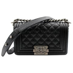 Chanel Black Caviar Leather & Ruthenium Finish Metal Small Boy Bag A67085
