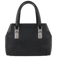 CHANEL Black Caviar Leather Silver Top Handle Quilted Satchel Handbag Purse