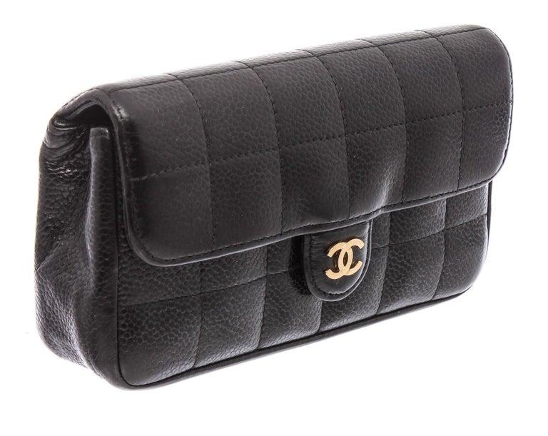 Women's Chanel Black Caviar Leather Square Quilt Waist Flap Bag  For Sale