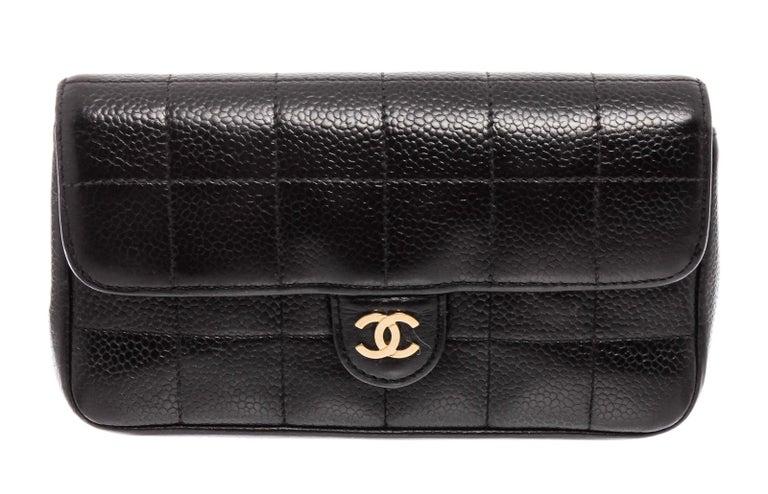 Chanel Black Caviar Leather Square Quilt Waist Flap Bag  For Sale 2