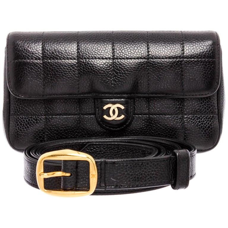 Chanel Black Caviar Leather Square Quilt Waist Flap Bag  For Sale