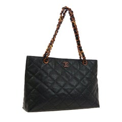 Chanel Black Caviar Leather Tortoise Shel Carryall Travel Large Shopper Tote