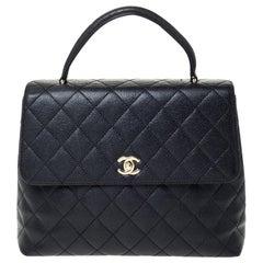 Chanel Black Caviar Leather Vintage Kelly Bag