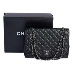Chanel Black Caviar Maxi Single Flap Bag