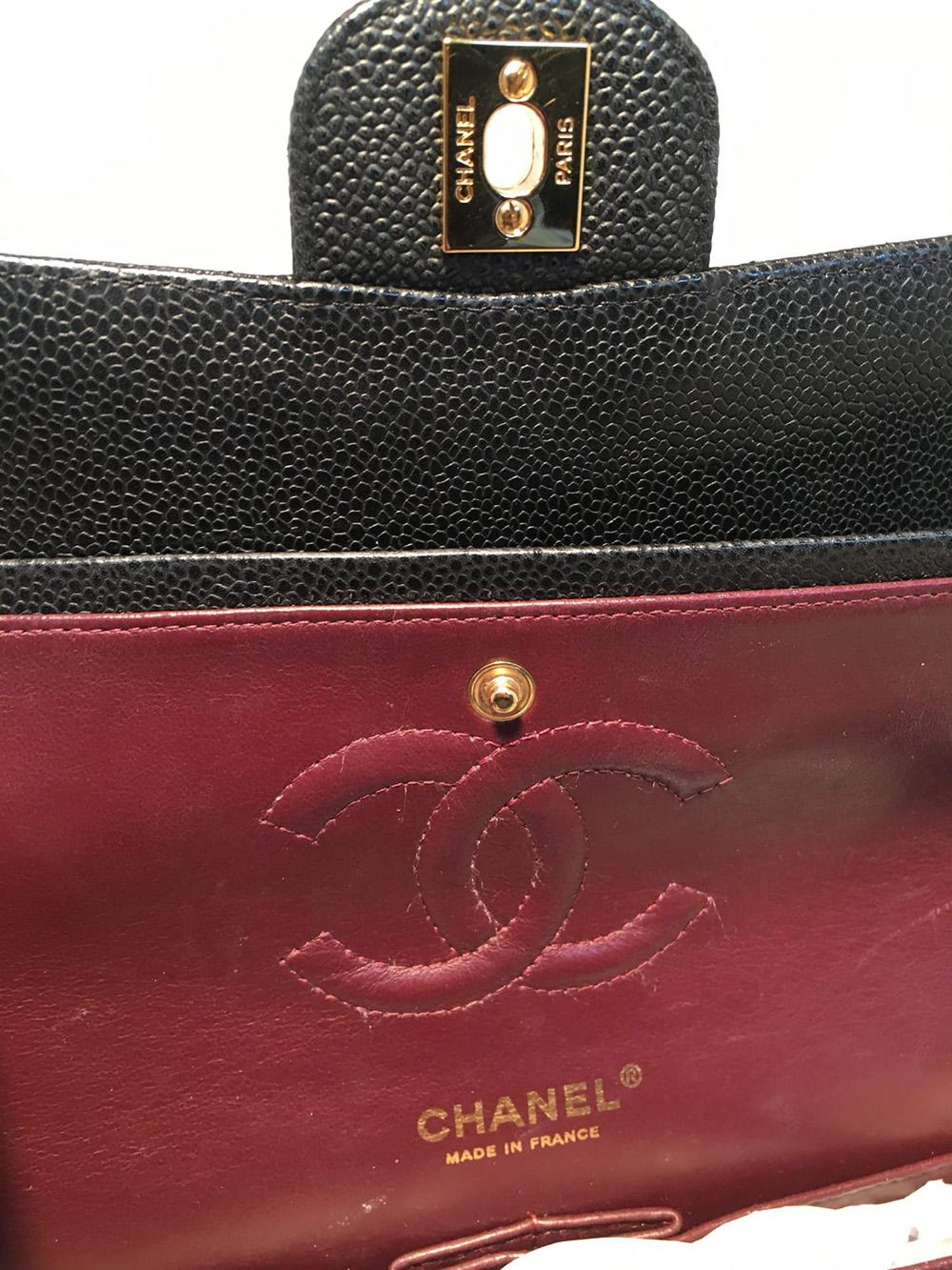 8ea5f9998b86e1 Chanel Black Caviar Medium 10inch 2.55 Double Flap Classic Shoulder Bag For  Sale at 1stdibs
