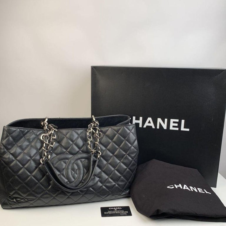 Chanel Black Caviar Quilted Leather Grand Shopping Tote GST Bag 6