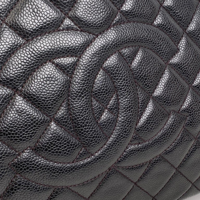Chanel Black Caviar Quilted Leather Grand Shopping Tote GST Bag In Excellent Condition In Rome, Rome