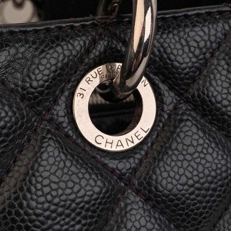 Women's Chanel Black Caviar Quilted Leather Grand Shopping Tote GST Bag