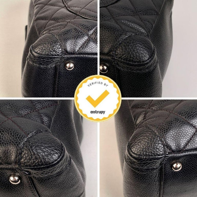 Chanel Black Caviar Quilted Leather Grand Shopping Tote GST Bag 2