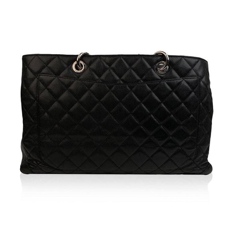 Chanel Black Caviar Quilted Leather Grand Shopping Tote GST Bag 3