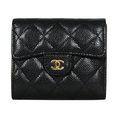 Chanel Black Caviar Quilted Small Classic Flap Wallet rt $900