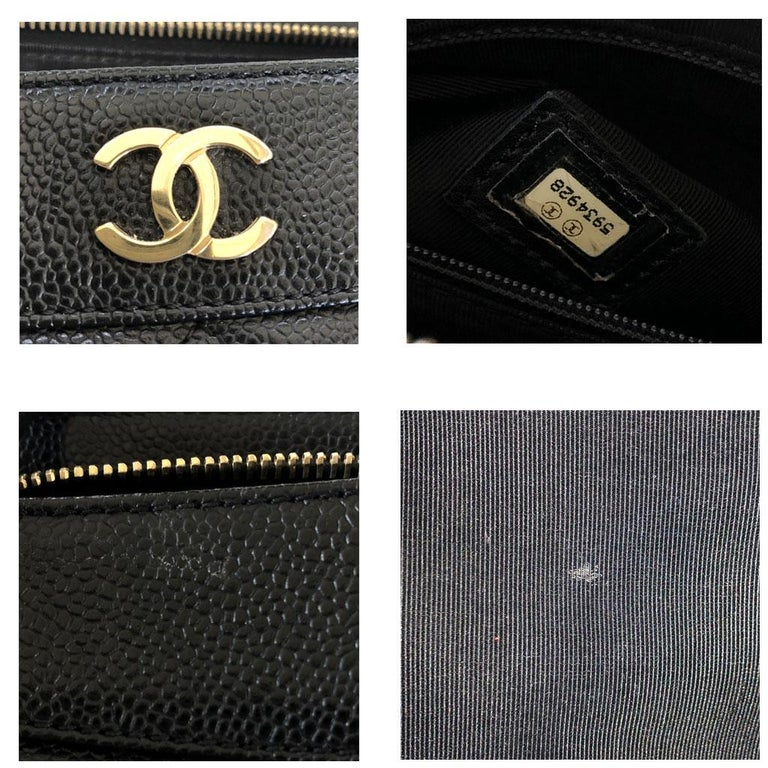 Chanel Black Caviar Quilted Top Handle GHW Tote Bag Purse For Sale 4
