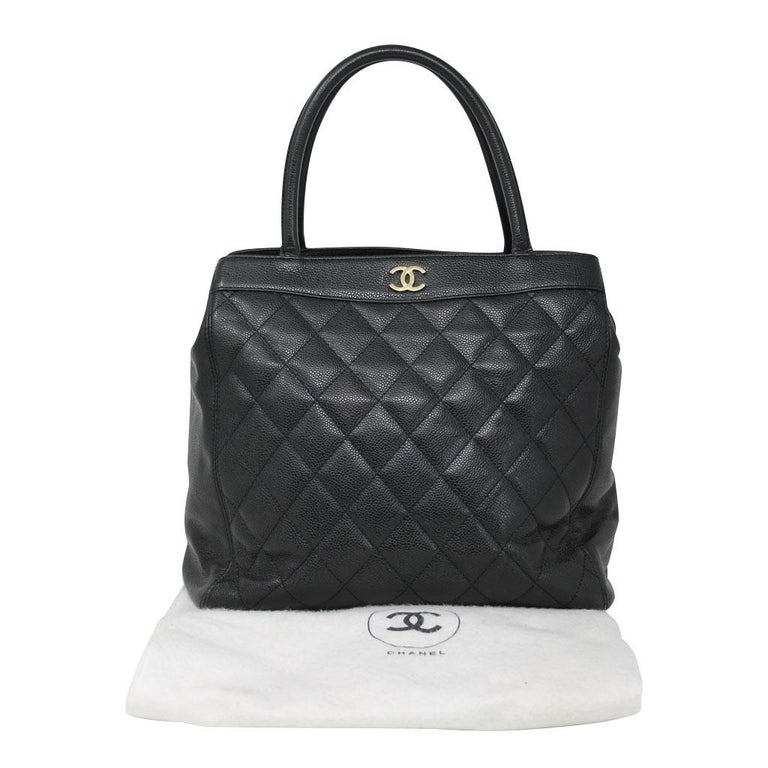 Chanel Black Caviar Quilted Top Handle GHW Tote Bag Purse For Sale 5