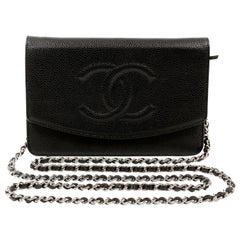 Chanel Black Caviar Timeless Wallet on a Chain with Silver