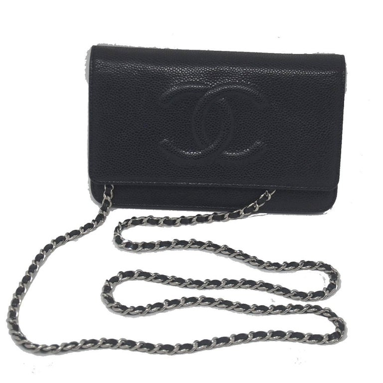 45eb030741c4 Chanel Black Caviar WOC Silver Hardware Handbag with Box and Tag For Sale 2