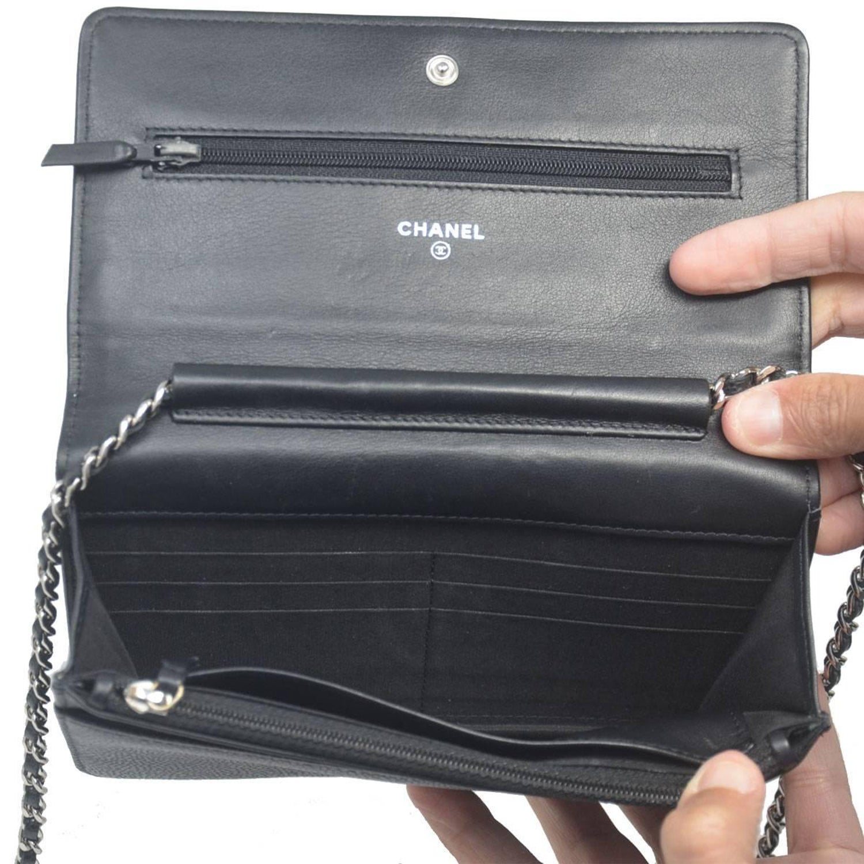 c77dc02ffa48 Chanel Black Caviar WOC Silver Hardware Handbag with Box and Tag at 1stdibs