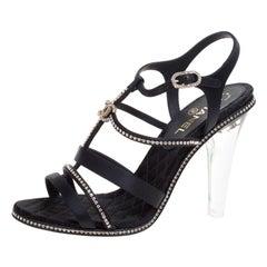 Chanel Black CC Crystal Embellished Satin Lucite Heel Strappy Sandals Size 41