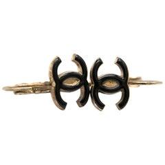 Chanel Black CC Drop Earrings