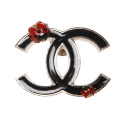 Chanel Black CC Logo with Lady Bugs