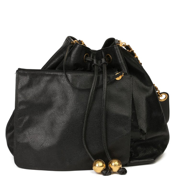 Chanel Black CC Perforated Caviar Leather Vintage Timeless Bucket Bag For Sale 7