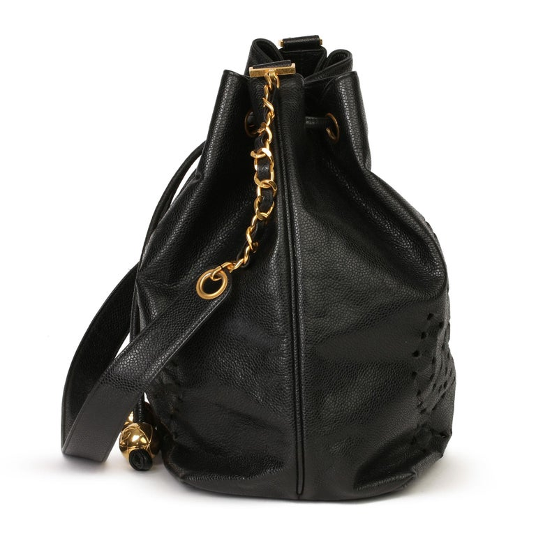 Chanel Black CC Perforated Caviar Leather Vintage Timeless Bucket Bag In Good Condition For Sale In Bishop's Stortford, Hertfordshire