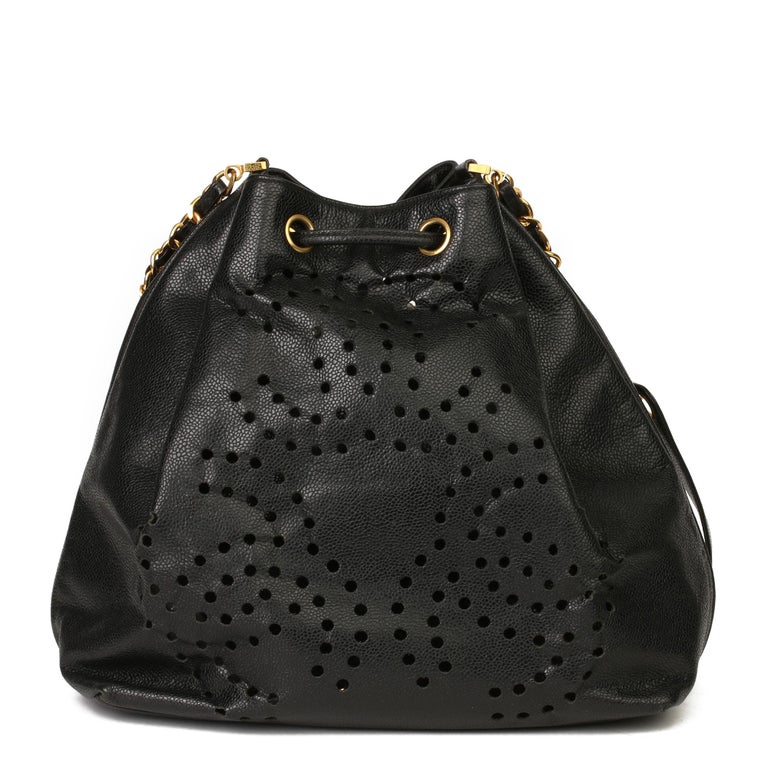 Women's Chanel Black CC Perforated Caviar Leather Vintage Timeless Bucket Bag For Sale