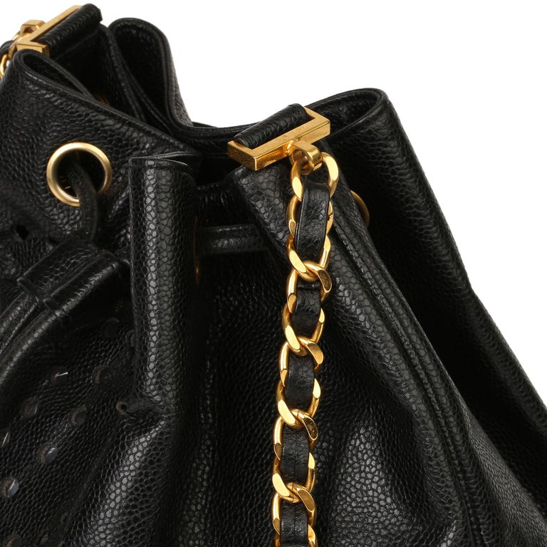 Chanel Black CC Perforated Caviar Leather Vintage Timeless Bucket Bag For Sale 2