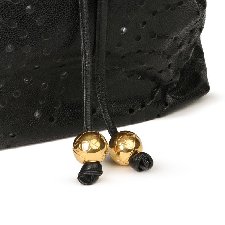 Chanel Black CC Perforated Caviar Leather Vintage Timeless Bucket Bag For Sale 3