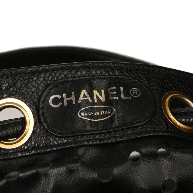 Chanel Black CC Perforated Caviar Leather Vintage Timeless Bucket Bag For Sale 5