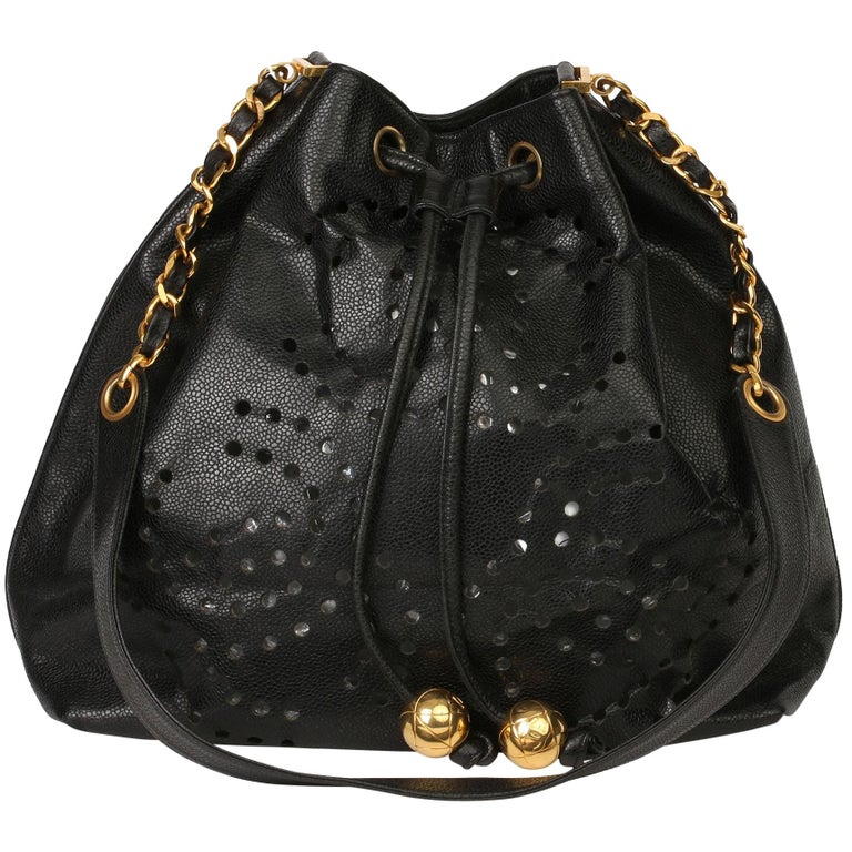 Chanel Black CC Perforated Caviar Leather Vintage Timeless Bucket Bag For Sale