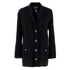 Chanel Black CC Ribbed Knit Cotton Cardigan - Size US 10