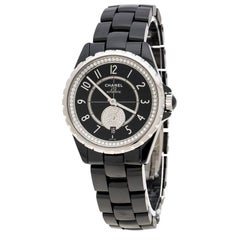 Chanel Black Ceramic and Stainless Steel Diamonds J12-365 H3840 Women's Wristwat
