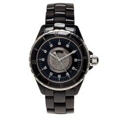Chanel Black Ceramic J12 Diamond H1757 Women's Wristwatch 38MM