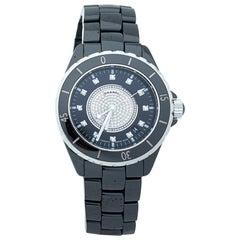 Chanel Black Ceramic Stainless Steel Diamond Ceramic J12 H1757 Unisex Wristwatch