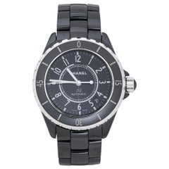Chanel Black Ceramic Stainless Steel J12 Women's Wristwatch 39 mm